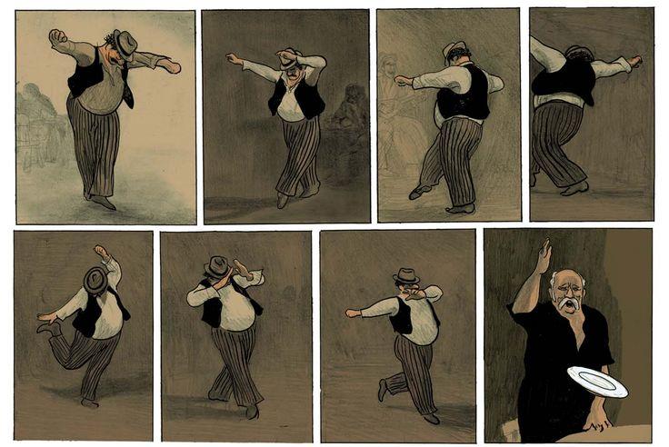 Cette série de dessins extraits de la bande dessinée de David Prudhomme illustre la principale danse du rébètiko : le zeïbékiko