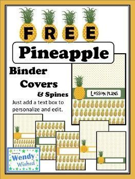 pineapple binder covers spines editable free primary classroom