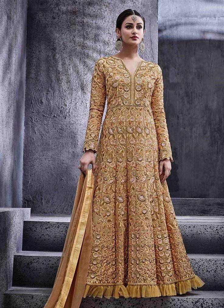 Picturesque Zari Work Beige Art Silk Floor Length Anarkali Suit