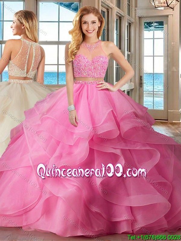 7ae5541c90d Pretty Two Piece Puffy High Neck Brush Train Baby Pink Quinceanera Dresses  with Beading and Ruffles  beautifulquinceaneradresses