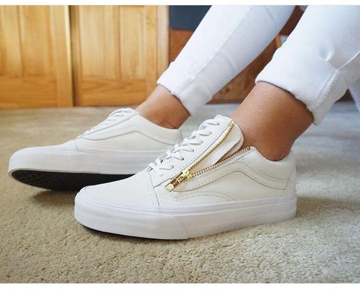 White vans. Gold zipper. Got these today :)