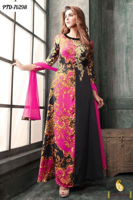 Z Fashion Trend: PINK BLACK FLOOR LENGTH DESIGNER ANARKALI