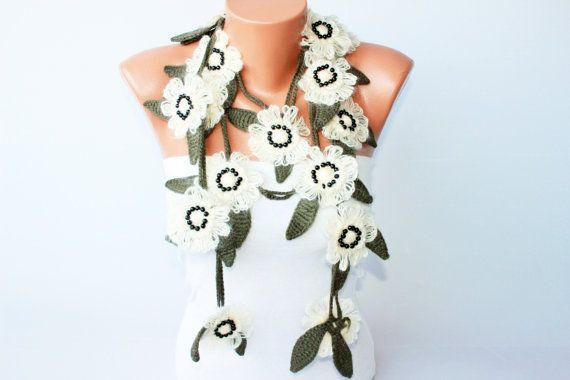 crochet lariat necklace scarf  flower necklace scarf by SenasShop