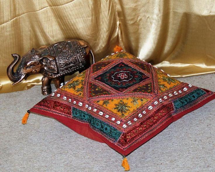 Orientalisches Sitzkissen Pouf Ottomane Kissen Gelb 60 cm Handarbeit Indien BW