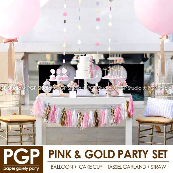 [PGP] Pink & Gold Party Set, Balloon Ribbon Cake cups Tassel garland Napkins Straws,for Wedding Girl birthday princess Decor Kit