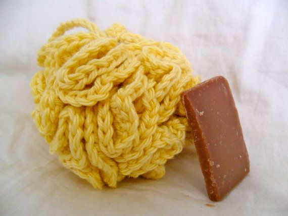 Crocheted Buttercup Yellow Bath Puff - SAMPLE soap included