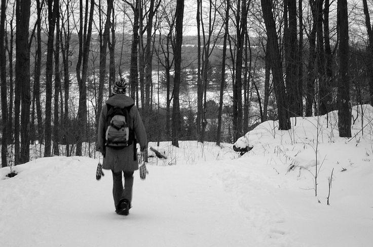 Winter hiking in Massachusetts.