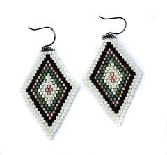 Diamond Drop Earrings - White