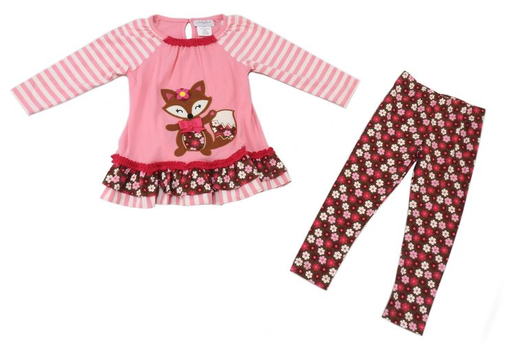 Emily Rose Girls Size 3T Long Sleeve Top/Pant Fox 2-Piece Set, Peach