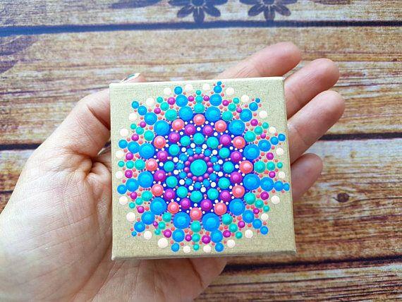 ENVÍO gratis mano mandala pintado caja de pequeños tesoros