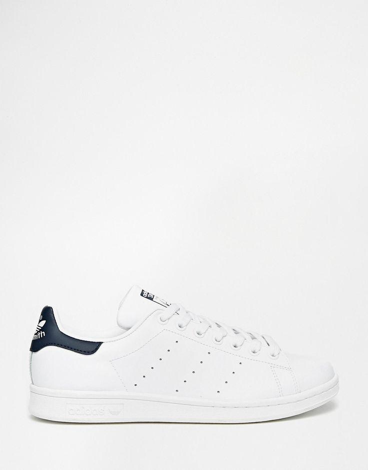 Image 1 of adidas Originals Stan Smith White & Navy Sneakers