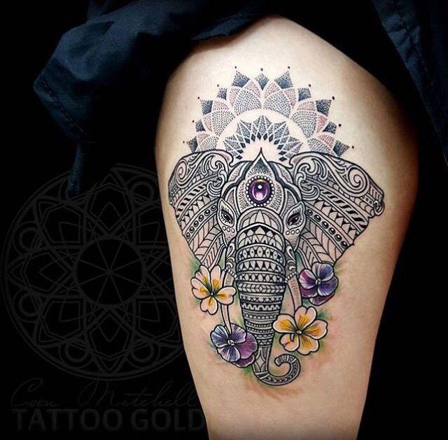 Elephant mandala tatouage indien style orientale
