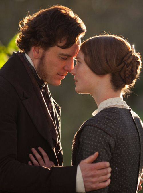Michael Fassbender as Mr. Rochester and Mia Wasikowska as Jane Eyre in Jane Eyre (2011).