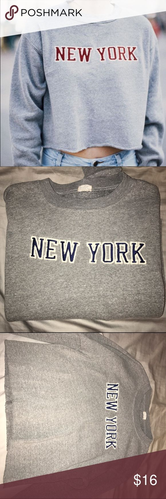 BRANDY MELVILLE NANCY SWEATSHIRT **BLUE LETTERS Super cozy cutoff sweatshirt (purchased from bm with rough edge hem) blue letters not red just using one with red as my cover photo as I couldn't find the blue online but still wanted to show how it fits :) NO TRADES Brandy Melville Tops Sweatshirts & Hoodies