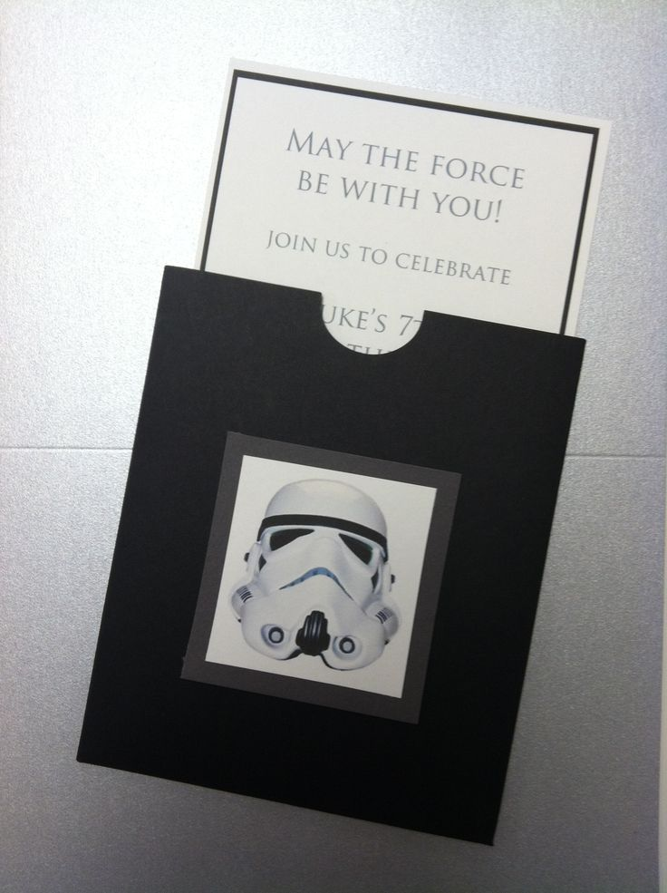Star Wars Themed 7th Birthday Party Invitations