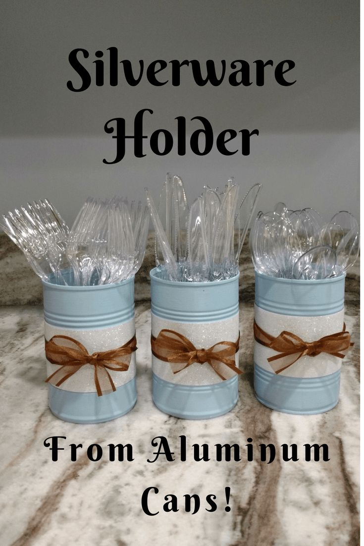 Having a party or a BBQ? These silverware holders with keep you organized! Click through to make your own from aluminum cans!-plastic utensils-DIY-Homemade-spoons forks knives