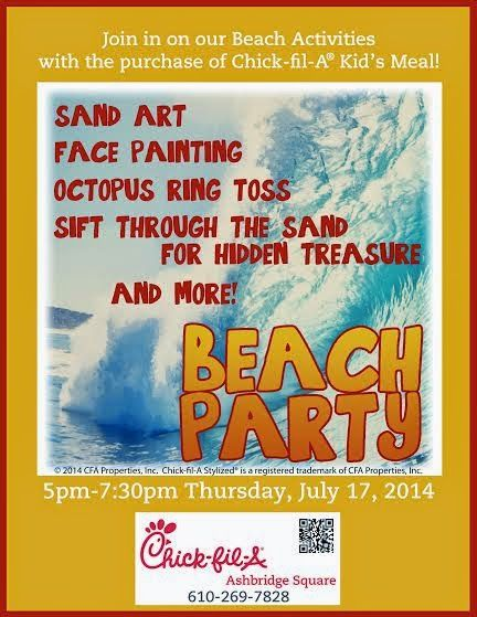 Beach Party at Chick-fil-A July 17 #Downingtown #AshbridgeSquare #Summeractivities #beachparty