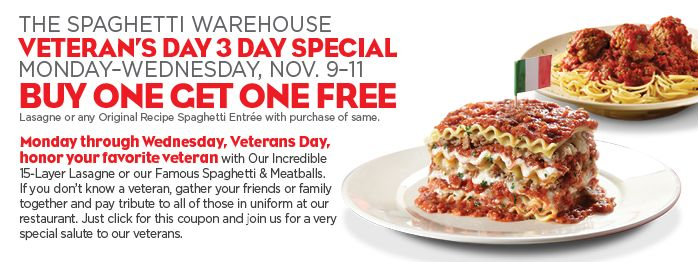 Buy One Get One Free Entrees at Spaghetti Warehouse
