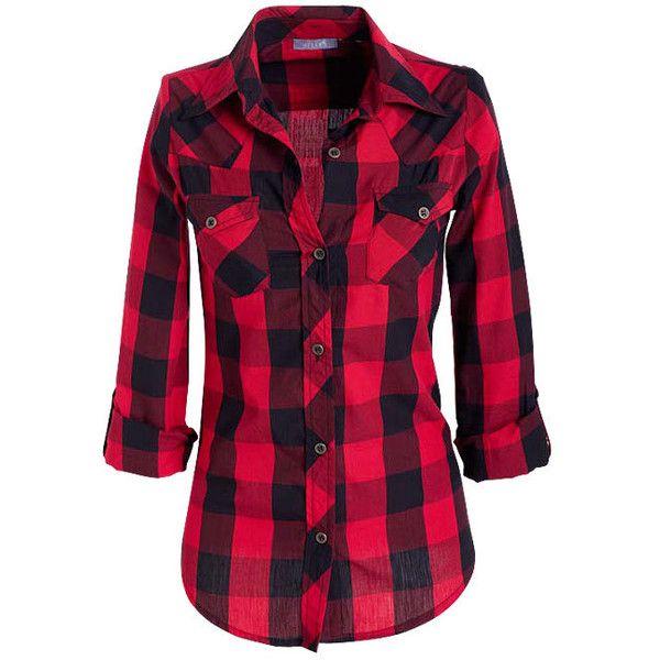 Elisa Plaid Shirt ($15) ❤ liked on Polyvore featuring tops, shirts, plaid, red, blusas, apparel, shirts & blouses, red button down shirt, red plaid shirt y plaid button down shirt