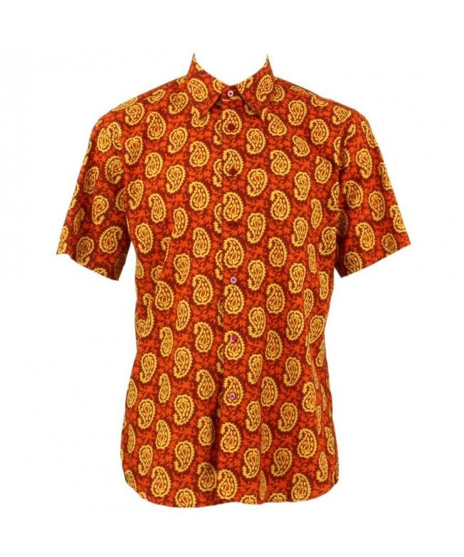 Loud Originals Regular Fit Short Sleeve Shirt - Orange & Red Abstract Paisley
