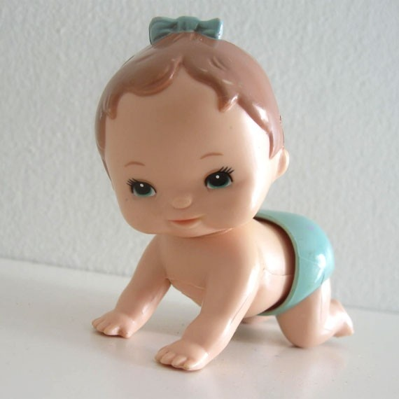 These wind-up crawling babies were so cute!  I had a few.