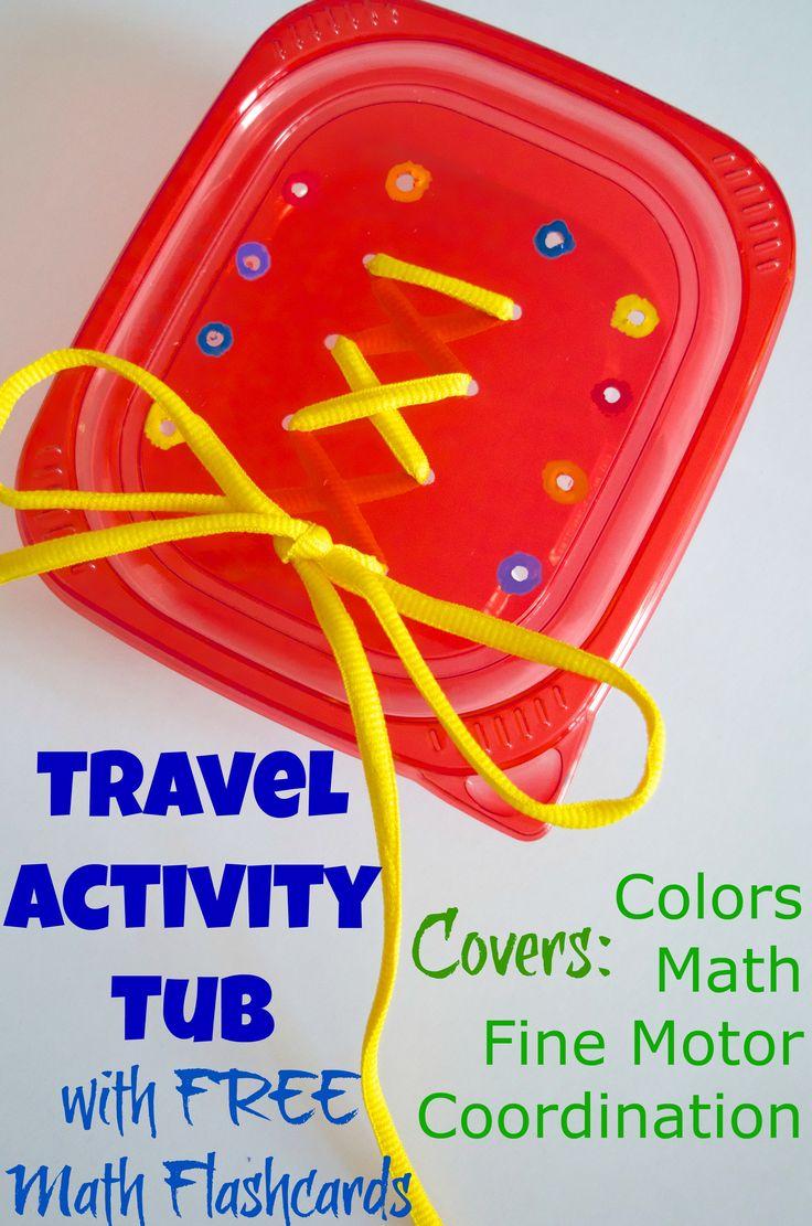 Fine Motor Skills, Color & Math Activity Travel Tub with FREE printable math flashcards