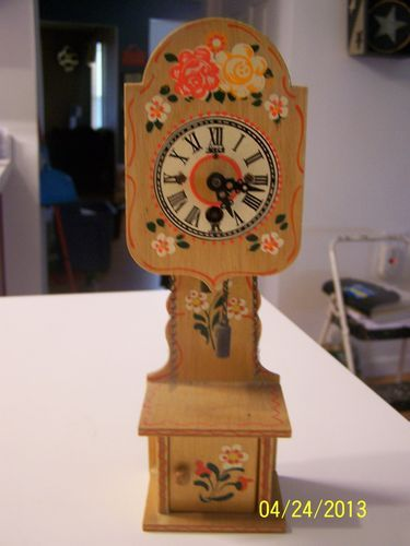 Vintage wooden clock Made in Germany with Key Henry ...