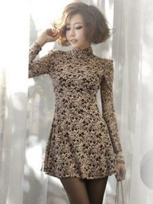 Korean Style Pure Color Long Sleeve Dress