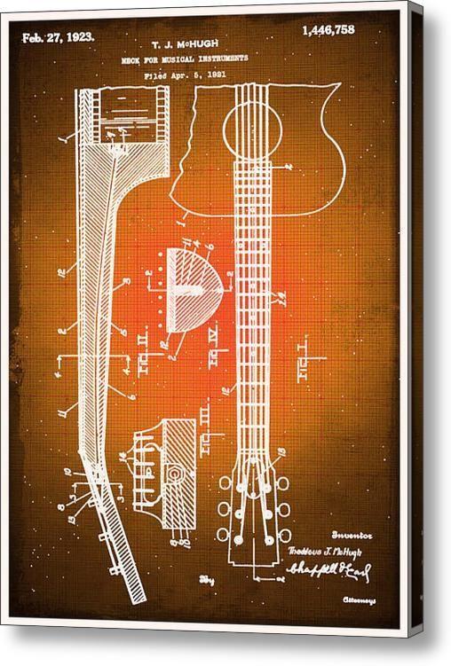 7 best blueprints images on pinterest blueprint drawing canvas gibson thaddeus j mchugh guitar patent blueprint drawing on stretched canvas by rubino fine art tony rubino malvernweather Images