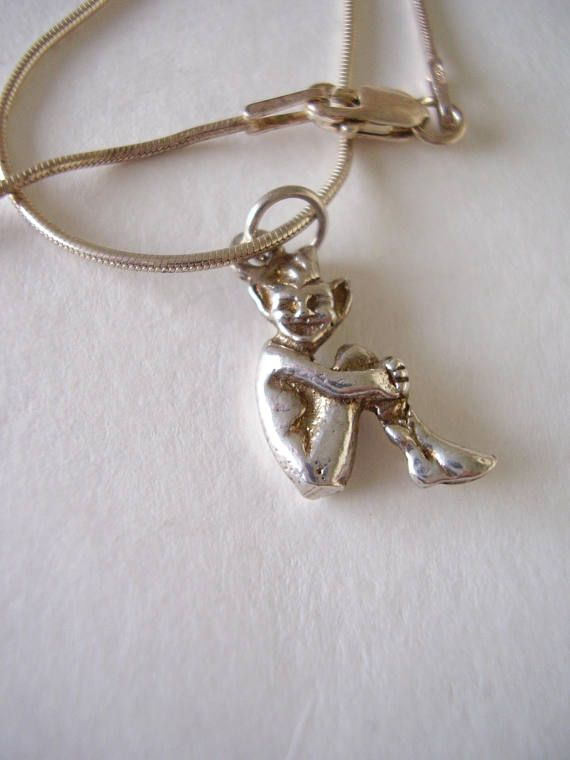 925 Necklace Lucky Cornish Pixie Pendant Solid Silver Snake