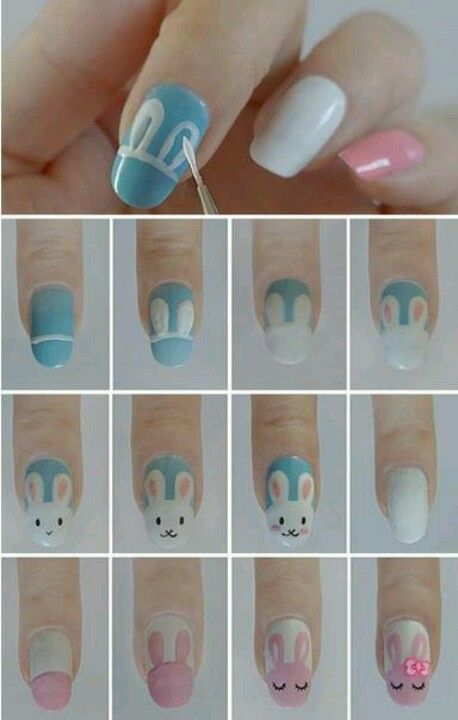 Easter nails bunny nail art tutorial