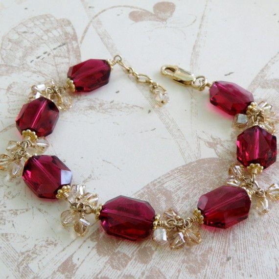 Ruby Crystal Bracelet Gold Filled Red Swarovski by fineheart,