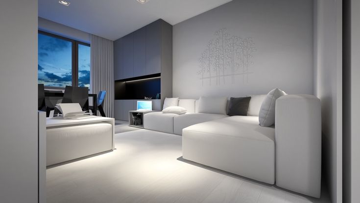 Depth and shadow are used to effect in our third space, which uses white, black and grey's shadow-like properties for interest. In the living room, white, grey and black play off one another in couch cushions. A grey feature cabinet displays a black TV screen, matched by geometric, lacquered black dining furniture in the next room. Cabinets open to reveal black in-panelling and light draping. A white tree motif is the only piece truly bathed in white.