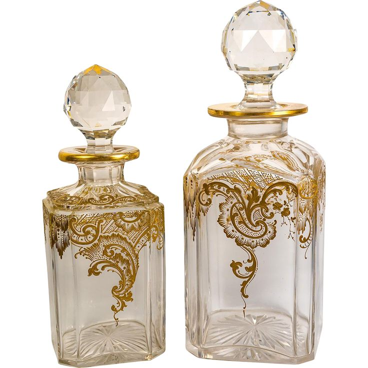 Opulent Raised Gold Enamel on Pair of Antique Baccarat Crystal Decanters, Liquor 10.5' and Liqueur 8.75' Tall #rubylane #antiquecrystal #baccaratcrystal