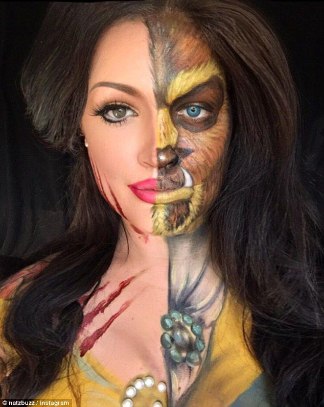 Half and half: She also does unusual make-up styles, such as this one, which shows half of her face as Belle from Beauty and the Beast, and half as the beast