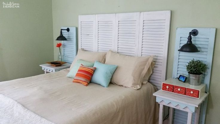 Garage Sale Shutters Turned Headboard!