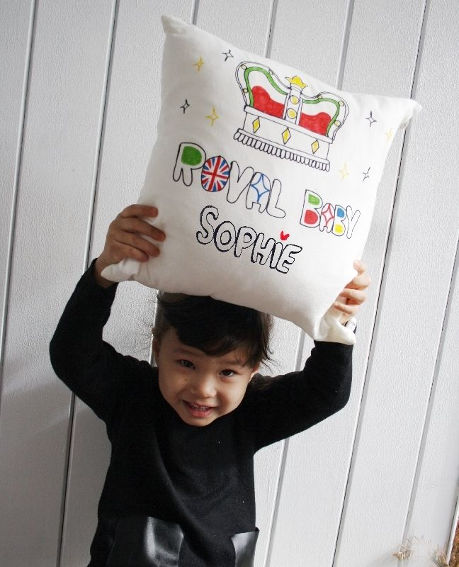 Is your baby a 'Royal baby'? Then let the baby know with this personalised cushion cover!  Chewingum London's personalised 'Royal baby' cushion is perfect for making a cosy baby room!  We believe every baby is a ROYAL BABY!  Make your baby a royal baby too with the personalised Royal Family inspired cushion.  The rear side can be personalised with a name or small message at NO extra cost.