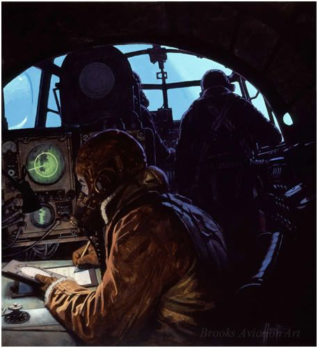 North of Track by Alex Hamilton  The crew of a Lancaster go about their business, while searchlights swing across the nose of their bomber. ...