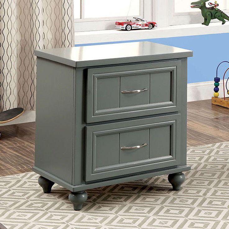 Contemporary Kids Nightstand With 2 Drawers Modern Bedroom Furniture #FurnitureofAmerica