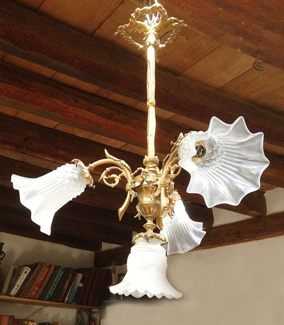 Charmant French Brass Chandelier with Tulip Glasses - 4 Arms Light - Louis XVI Style