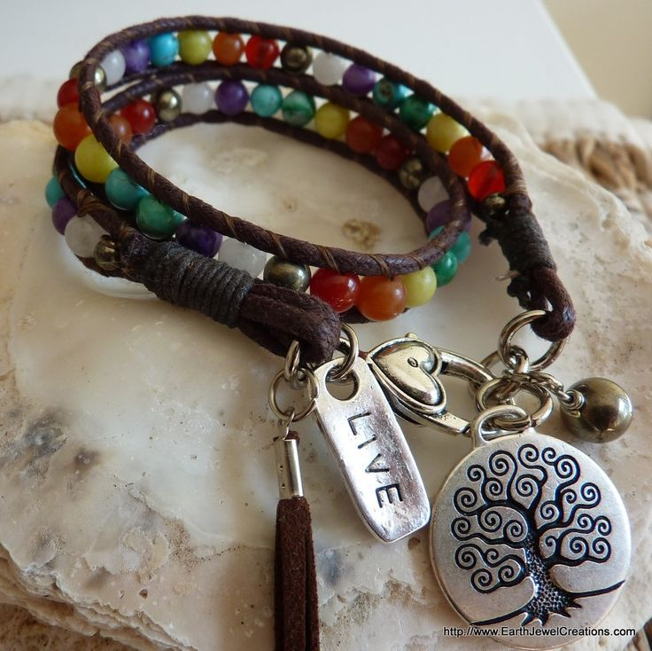 Chakra Balance Wrist Wrap - Inspirational handmade gemstone jewellery Earth Jewel Creations Australia