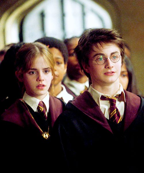 Hermione and Harry; time turner was visible in this scene along with others before being used