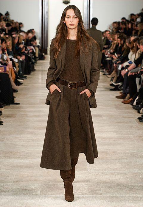 Waleska dark-brown/olive herringbone jacket, brown multi cashmere sweater, dark-… – Hilde Howard