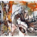 Denis Clarke - Bush and Rock Forms - Mixed Media 42cm x 59cm
