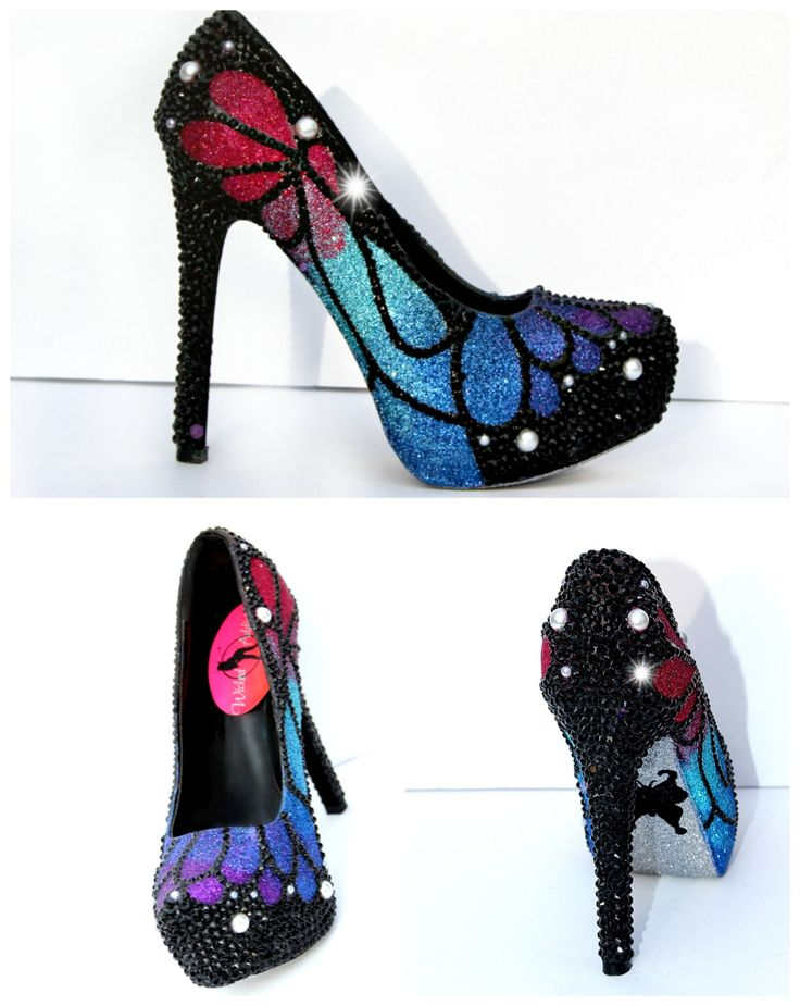 Butterfly Heels that are Hand Painted, Glittered and adorned in Swarovski Crystals by WickedAddiction on Etsy