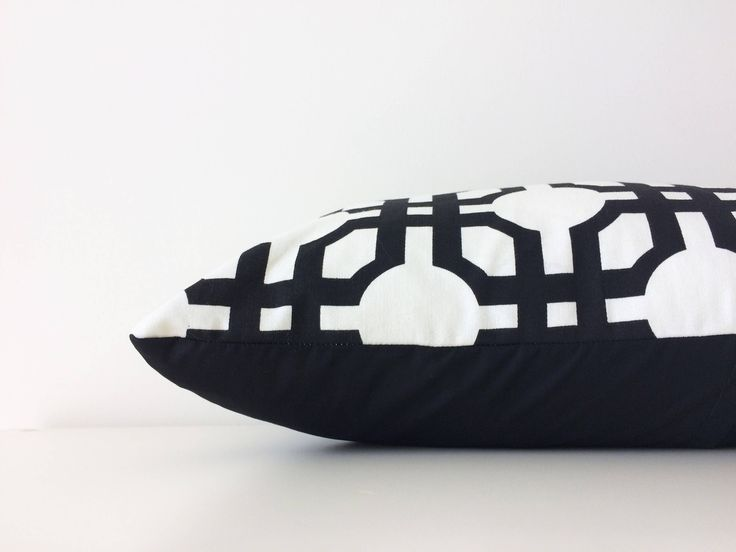 "Waverly Groovy Grille Pillow Cover, 12x18"", Cream, Black, Accent, Classic, Modern Decor, Designer Fabric, Geometric, Neutral Cushion Cover by BlackcatmeowDesigns on Etsy"