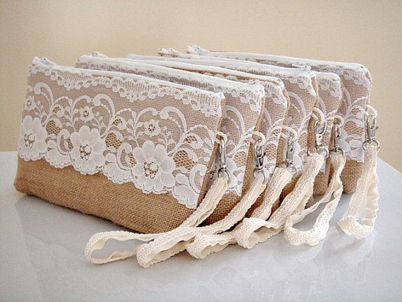 Bridesmaid set of 2 or more burlap clutches with por PrettyPositano