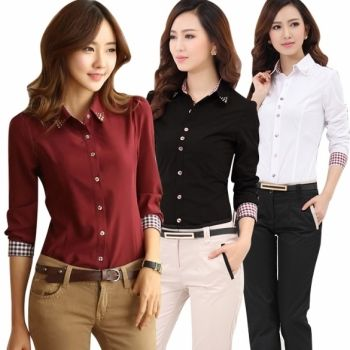 Fashion Women Long Sleeve Cotton Shirt Lapel Button Down Top Profession Blouse