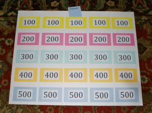 Homemade Jeopardy board.  I love how the numbers are pockets for the questions.  Universal for lots of subjects/topics.