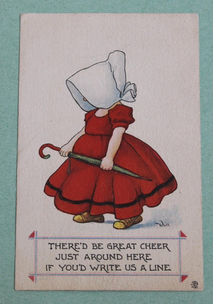 """Wall Bernhardt A s Sunbonnet Girl with Umbrella """"There'D Be Great Cheer """" (sue, parasol)"""